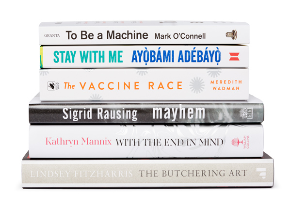 Stack of shortlisted books for Wellcome Book Prize 2018